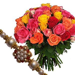 Rakhi with Mix Roses