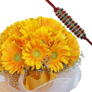 Rakhi with Gerberas