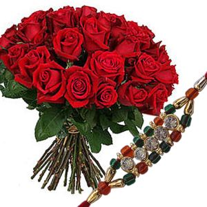 Rakhi with 24 Red Roses Bunch