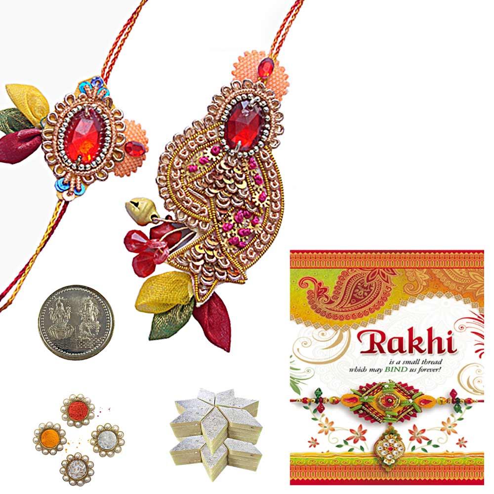 Bhaiya Bhabhi Rakhee Gift n 200Gm Kaju Katli Sweet
