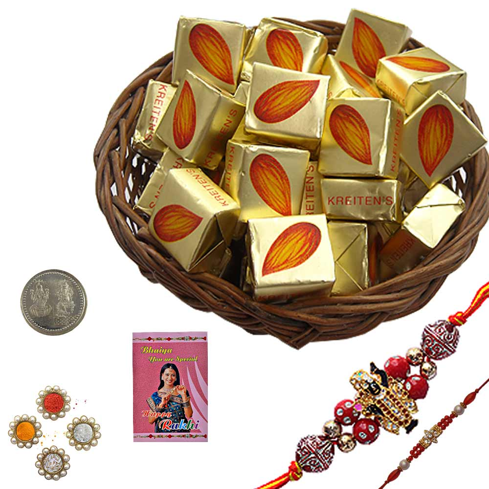 Zardozi Rakhi n 250Gm Butter Chocolate Gift Box