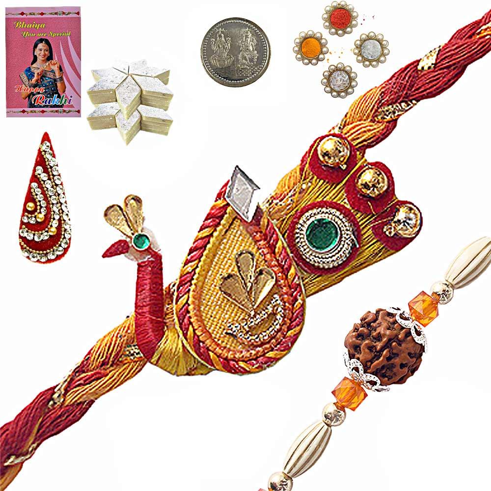 Rajasthani Handcrafted Rakhi n 200Gm Kaju Katli