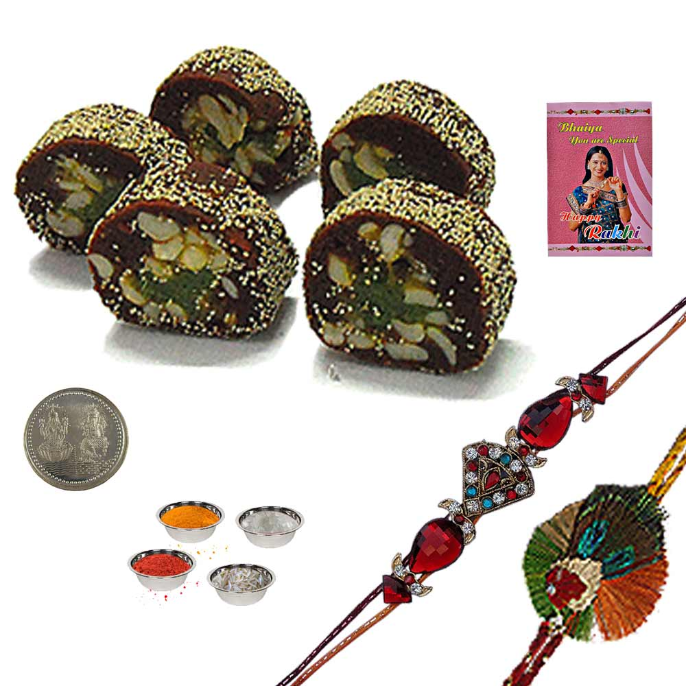 Send Mauli Rakhi n 400Gm Delicious Anjeer King Sweet to India Online for your deares brother on this