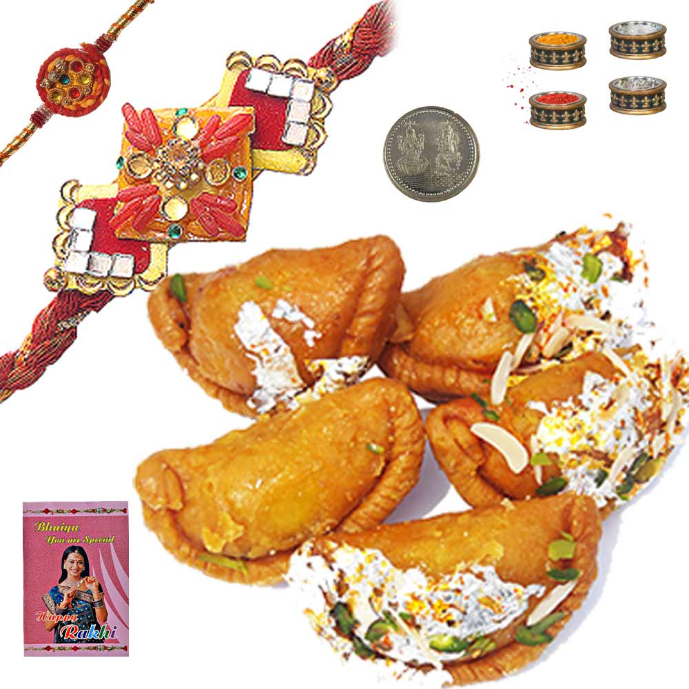 Send 400Gm Jaipuri Mawa Gujia n Mauli Rakhi for Brother to India Online for your deares brother on t