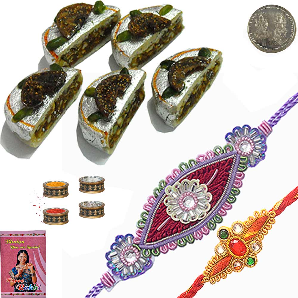 Send 200Gm Kaju Pista Sweet n Stylish Rakhi for Brother to India Online for your deares brother on t