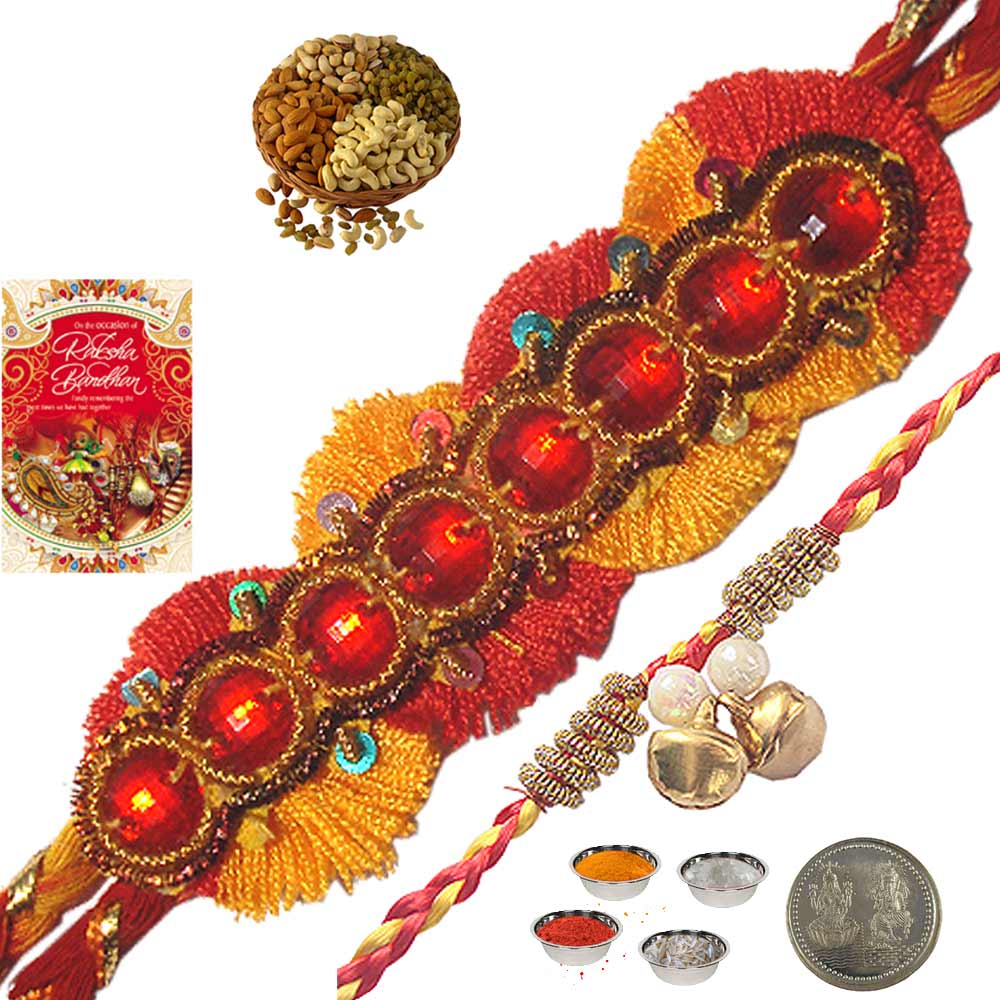 Exclusive Indian Mauli Rakhi n 400Gm Dryfruit Box