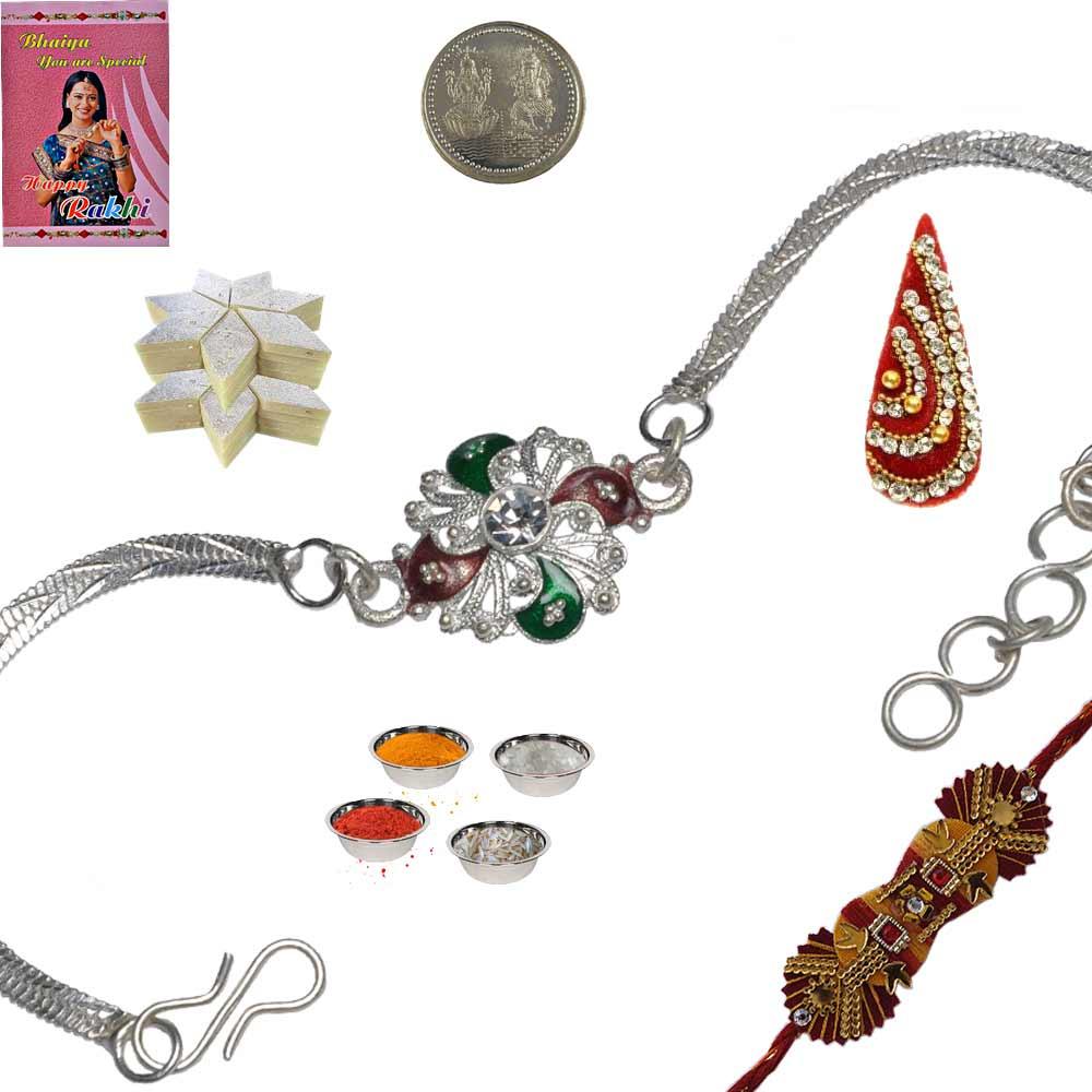Rajasthani Silver Rakhi n 200Gm Kaju Katli Sweet