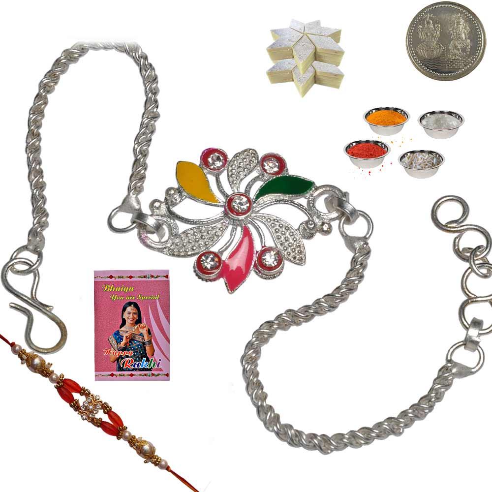 Rajasthani Handmade Silver Rakhi n 400Gm KajuKatli