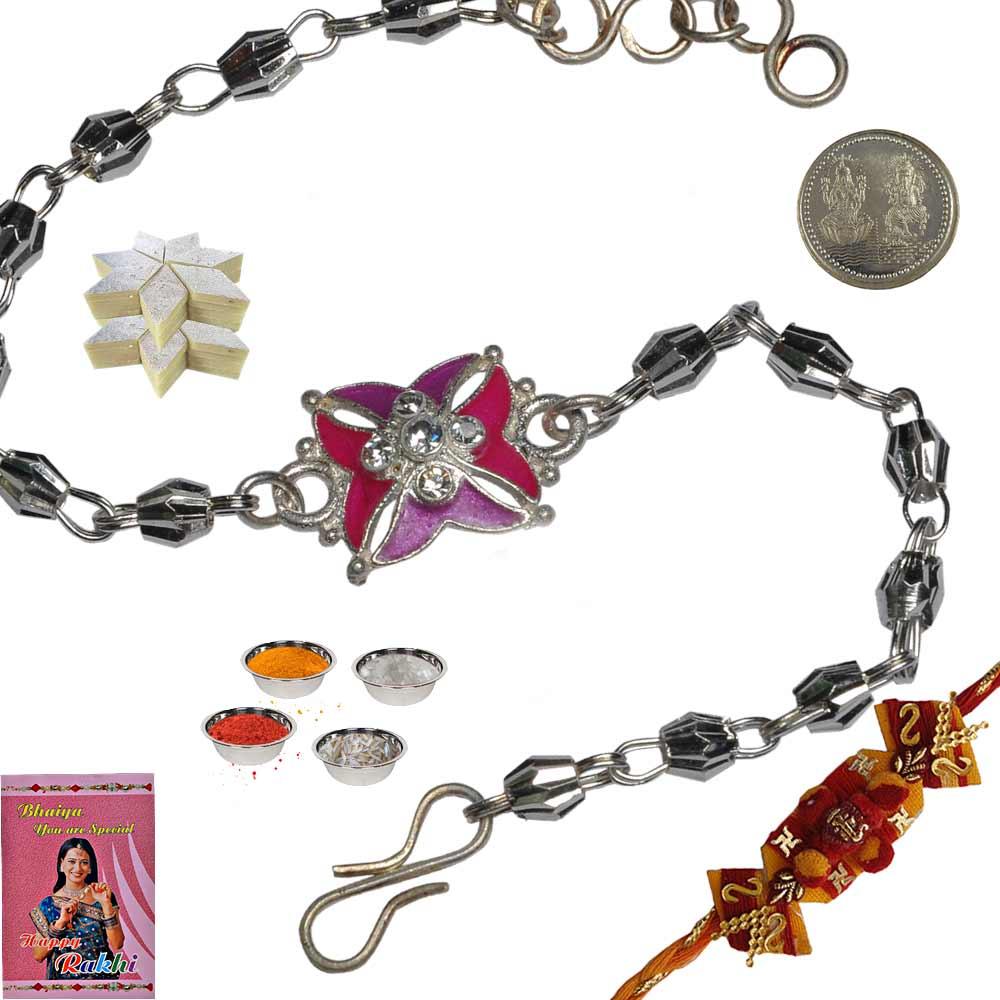 Charming Silver Rakhi n 200Gm Kaju Katli Mithai