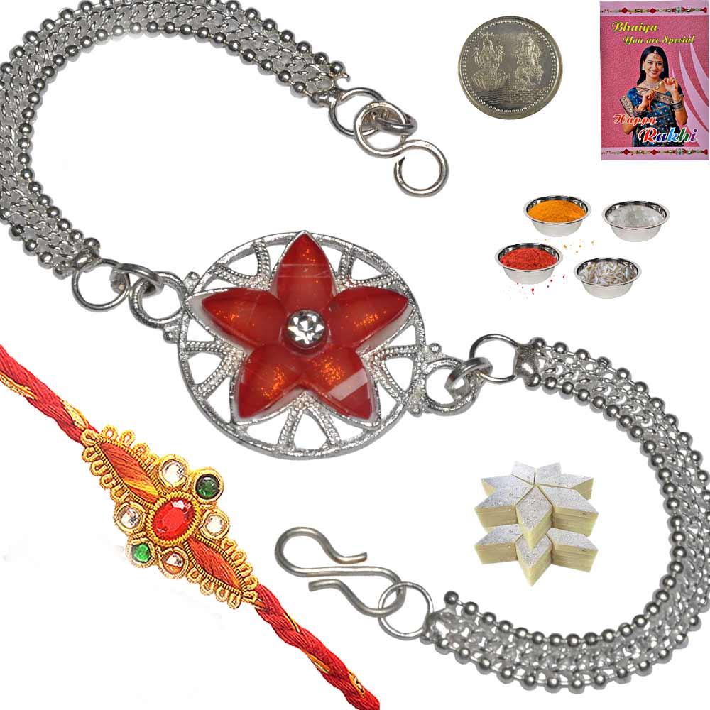 Red Floral Design Silver Rakhi n 200Gm Kaju Katli