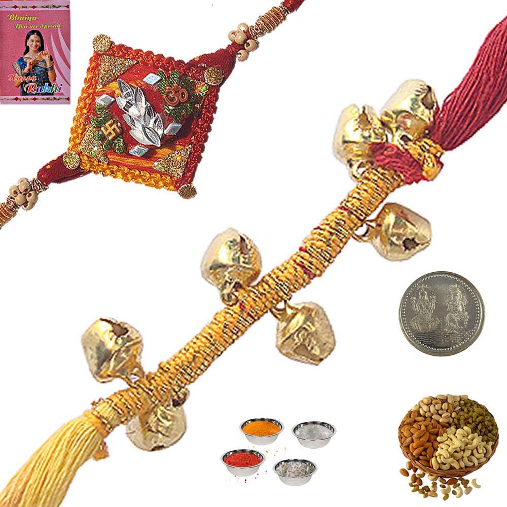 Indian Ethnic Thread Rakhi n 400Gm Dryfruit Box