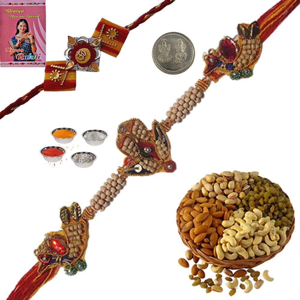 Adorable Thread Rakhi n 200Gm Dryfruit Box