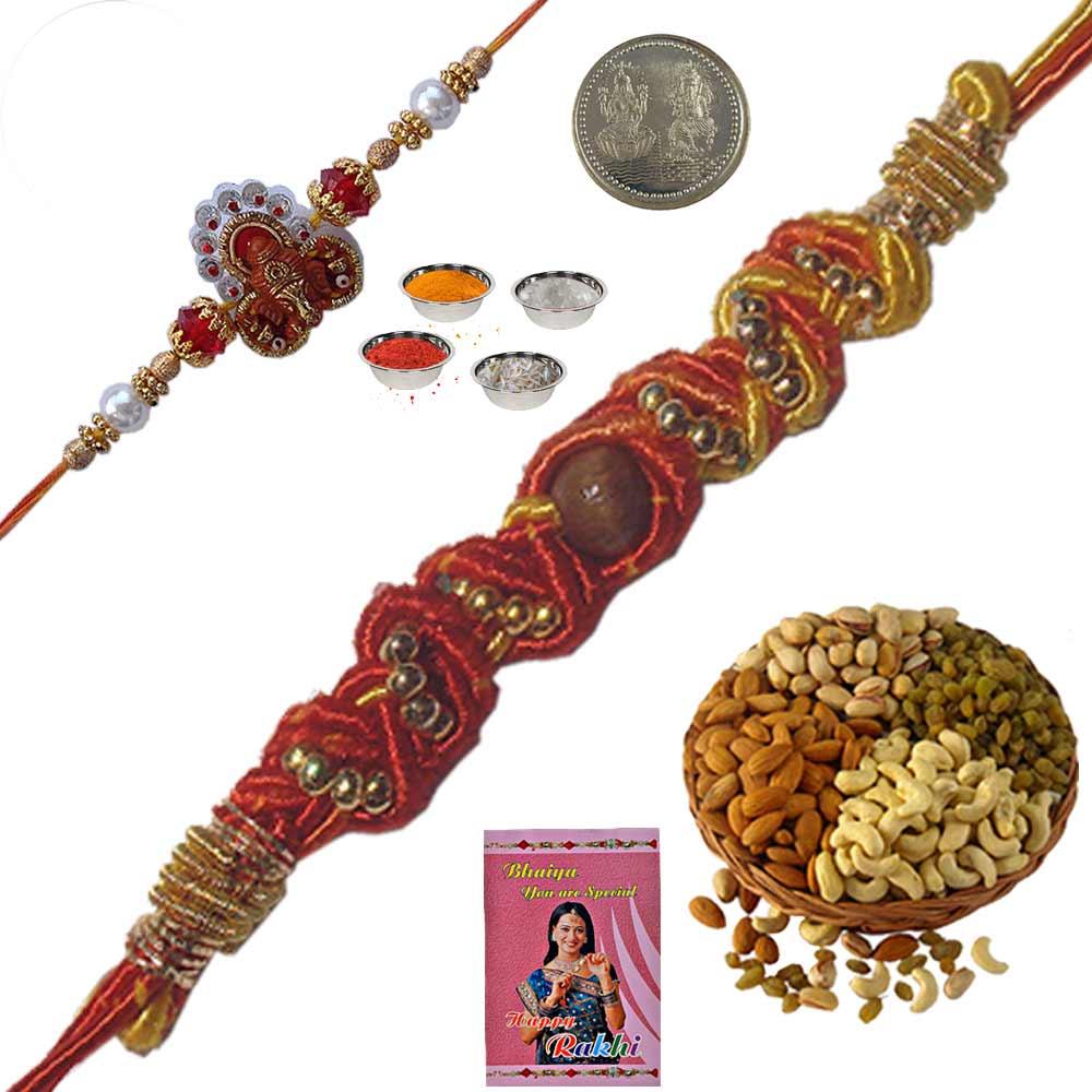 Rajasthani Artwork Thread Rakhi n 400Gm Dryfruit Box