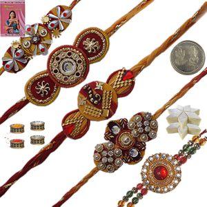 Five Colorful Thread Rakhi n 200Gm Kaju Katli