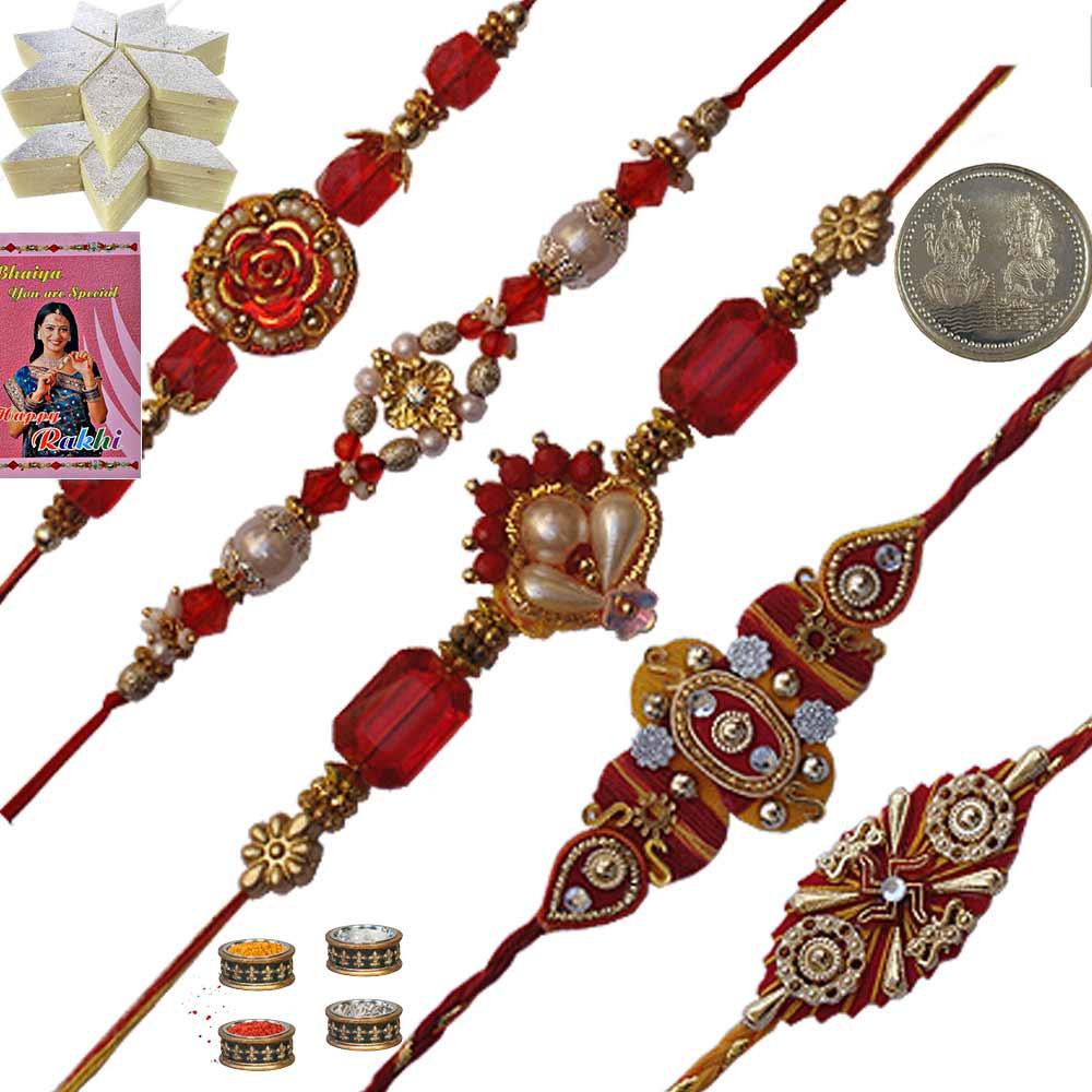 Five Thread Rakhi Set n 400Gm Fresh Kaju Katli