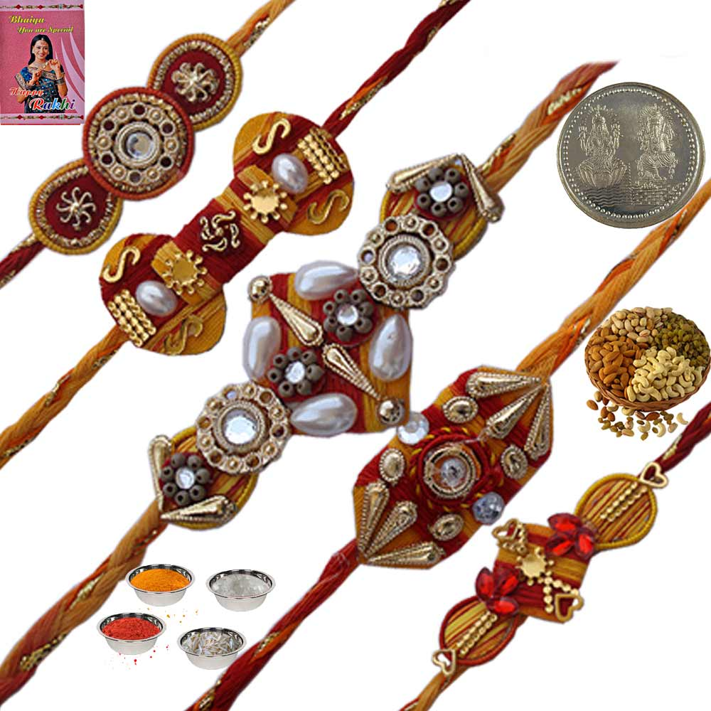 Five Latest Thread Rakhi n Set 200Gm Dryfruit Box