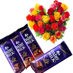 Heart Shaped Roses with Dairy Milk Silk Chocolates