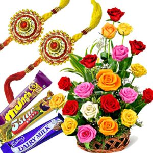 Rakhi with Mix Rose Basket n Choco