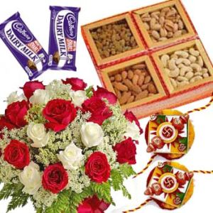 Dry Fruit Hamper with Fancy Rakhis