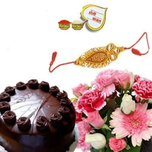 Rakhi with 1/2kg chocolate cake and 15 Flowers bunch