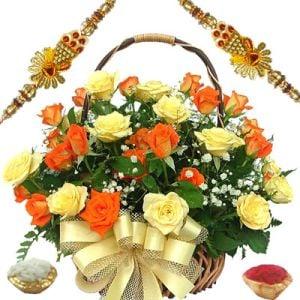 Mixed Rose Basket with Fancy Rakhis