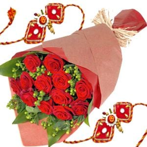 Red Roses Bouquet n Fancy Rakhis
