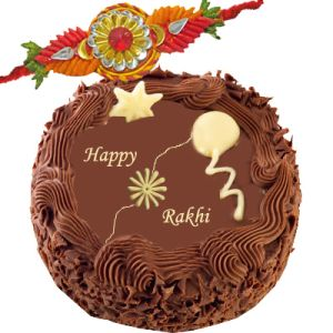 Fancy Rakhi with Chocolate Cake