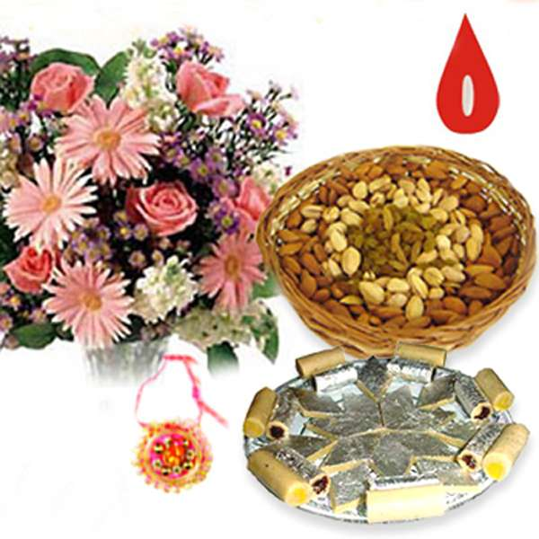 Mix Flowers with Kaju Katli and 500gm Dry Fruits with Rakhi