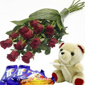 12 Red Roses Bouquet with Chocolates and Soft Toy