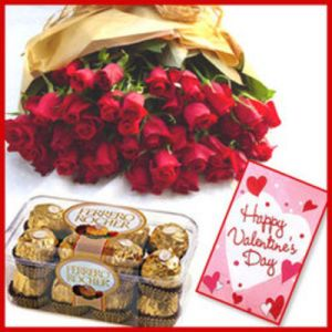 25 Red Roses n Ferrero Rocher Chocolates and V'Day Card