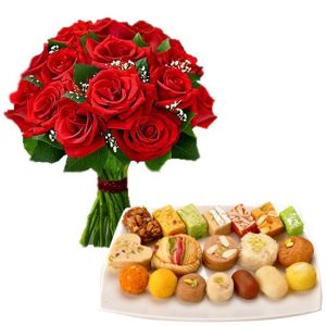 Bunch of 12 Red Roses with 500gm Mixed Sweets