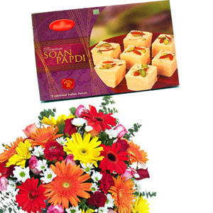 Flowers with Soan Papdi