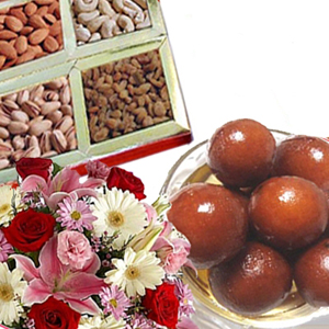Flowers with Dry Fruits n Gulab Jamun