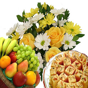 Flowers with Fruits n Soan Papdi