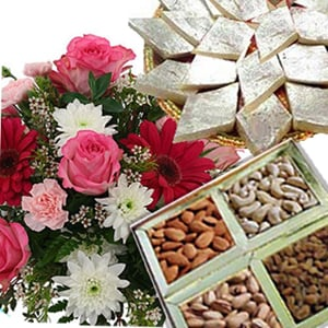 Flowers with Kaju Katli n Dry Fruits