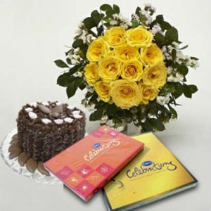 12 Yellow Roses with Cake n Celebrations Chocolate