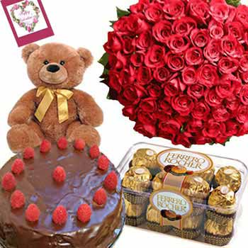 Red Roses Bunch with Chocolate Cake, Ferrero Rocher, Teddy and Card