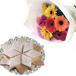 Gerberas with Kaju Barfi