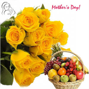 10 Yellow Roses Bunch with 4kg Mix Fruit Basket