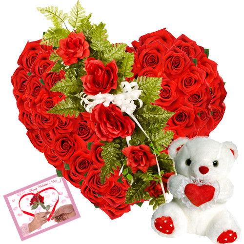 Heart Shaped 50 Red Roses with Teddy
