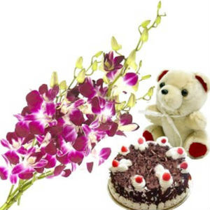 Bouquet of Orchids with Blackforest Cake n Teddy