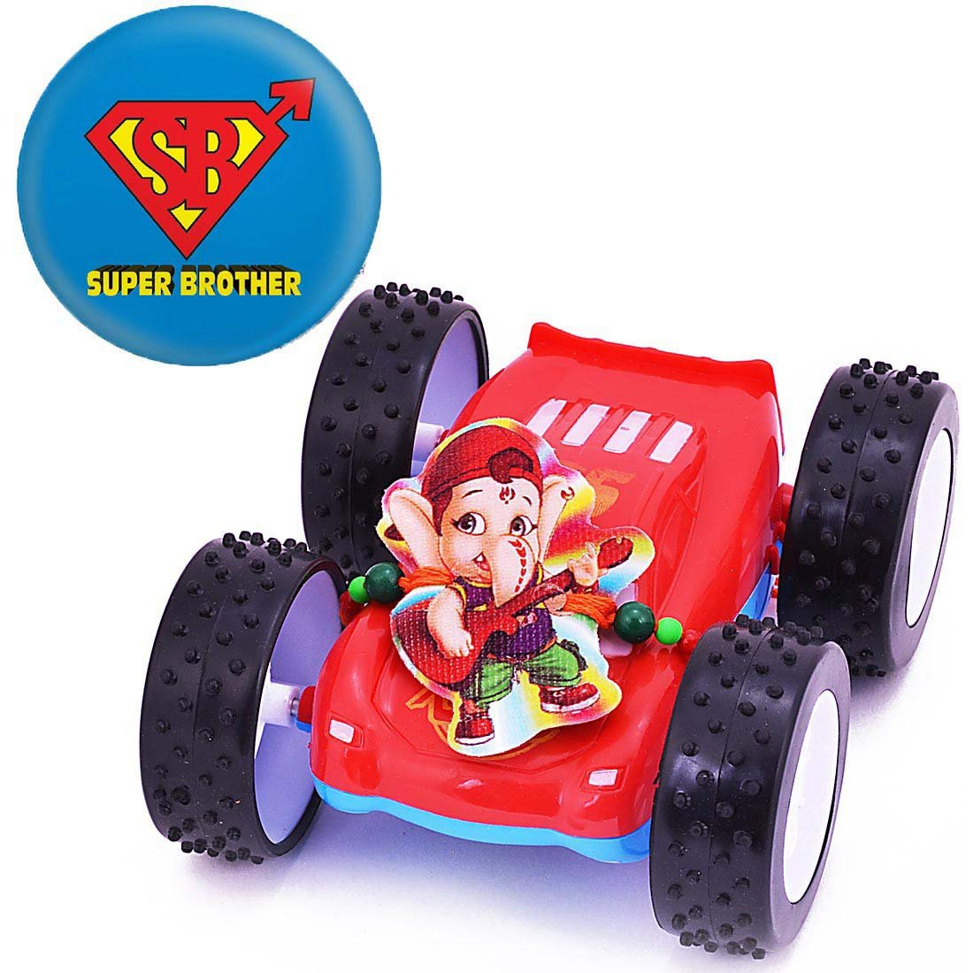 Colorful Racing Car Toy Kids Rakhi With Magnetic Badge