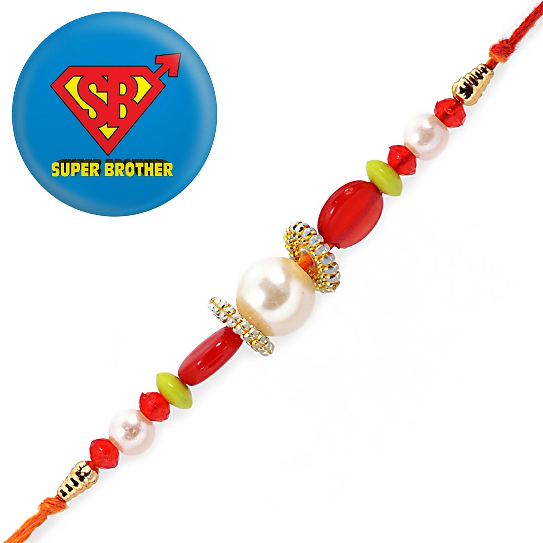 Ethnic Handcrafted Pearl Rakhi With Magnetic Badge