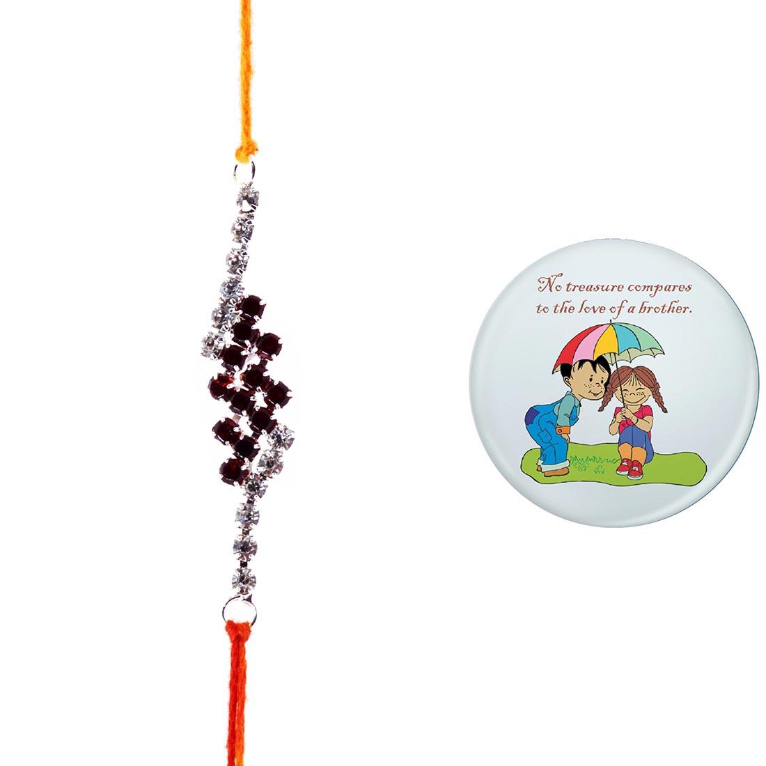 Ethnic Handcrafted Jewel Rakhi With Magnetic Badge