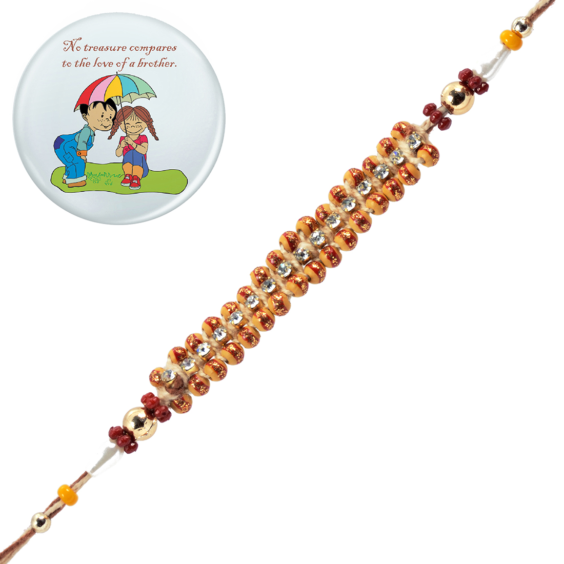 Ethnic Handcrafted Designer Rakhi With Magnetic Badge