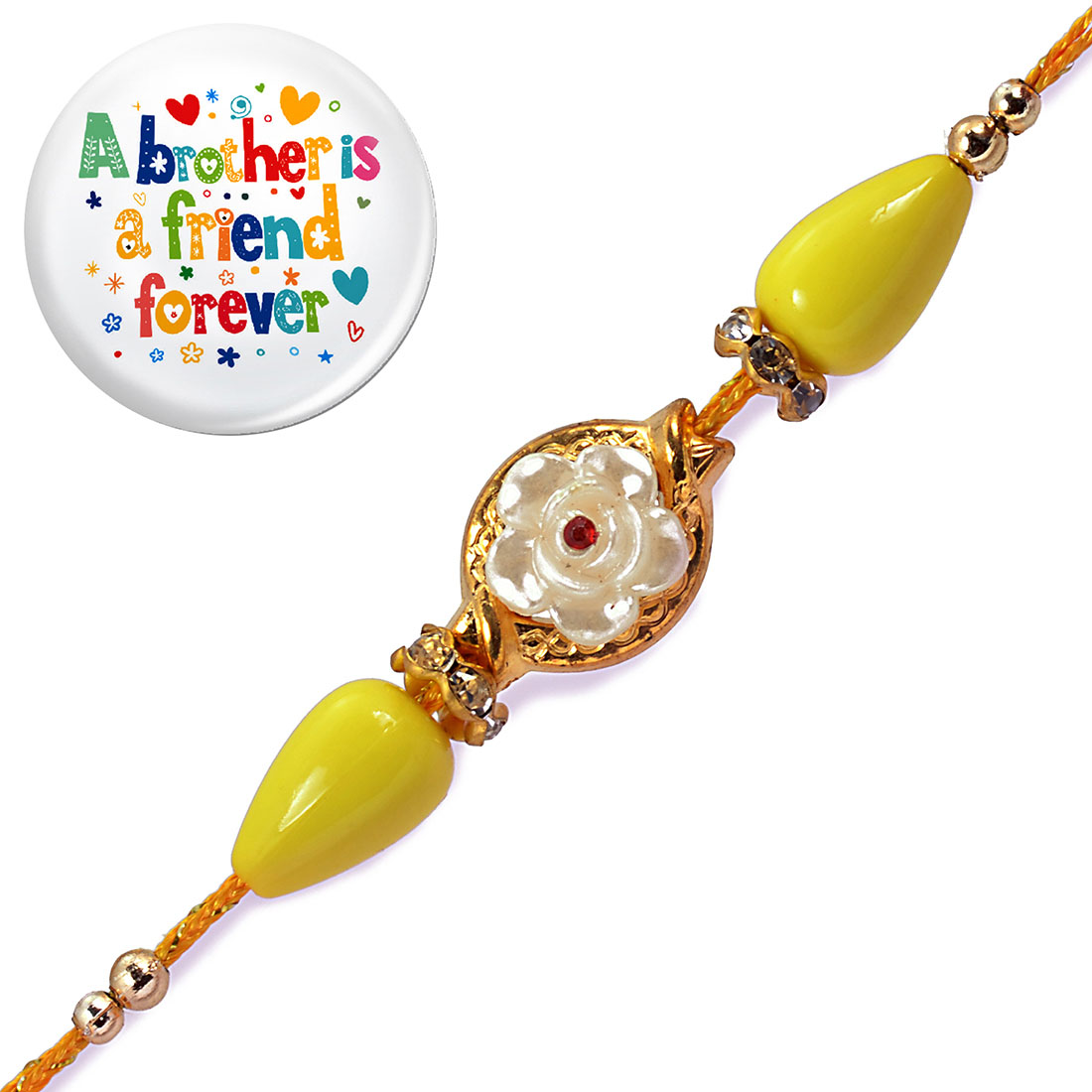 Ethnic Handcrafted Jewel Rakhi With Magnetic Badge