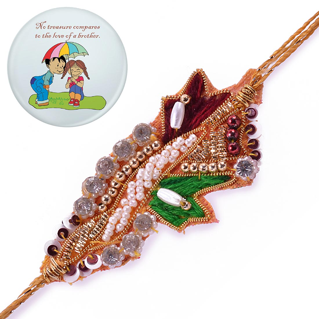 Ethnic Handcrafted Zardosi Rakhi With Magnetic Badge