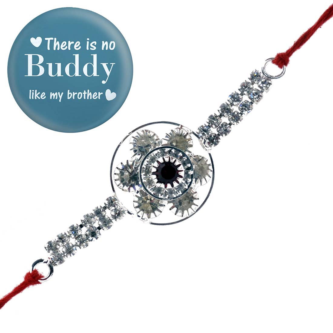Ethnic Handcrafted Silver Rakhi With Magnetic Badge