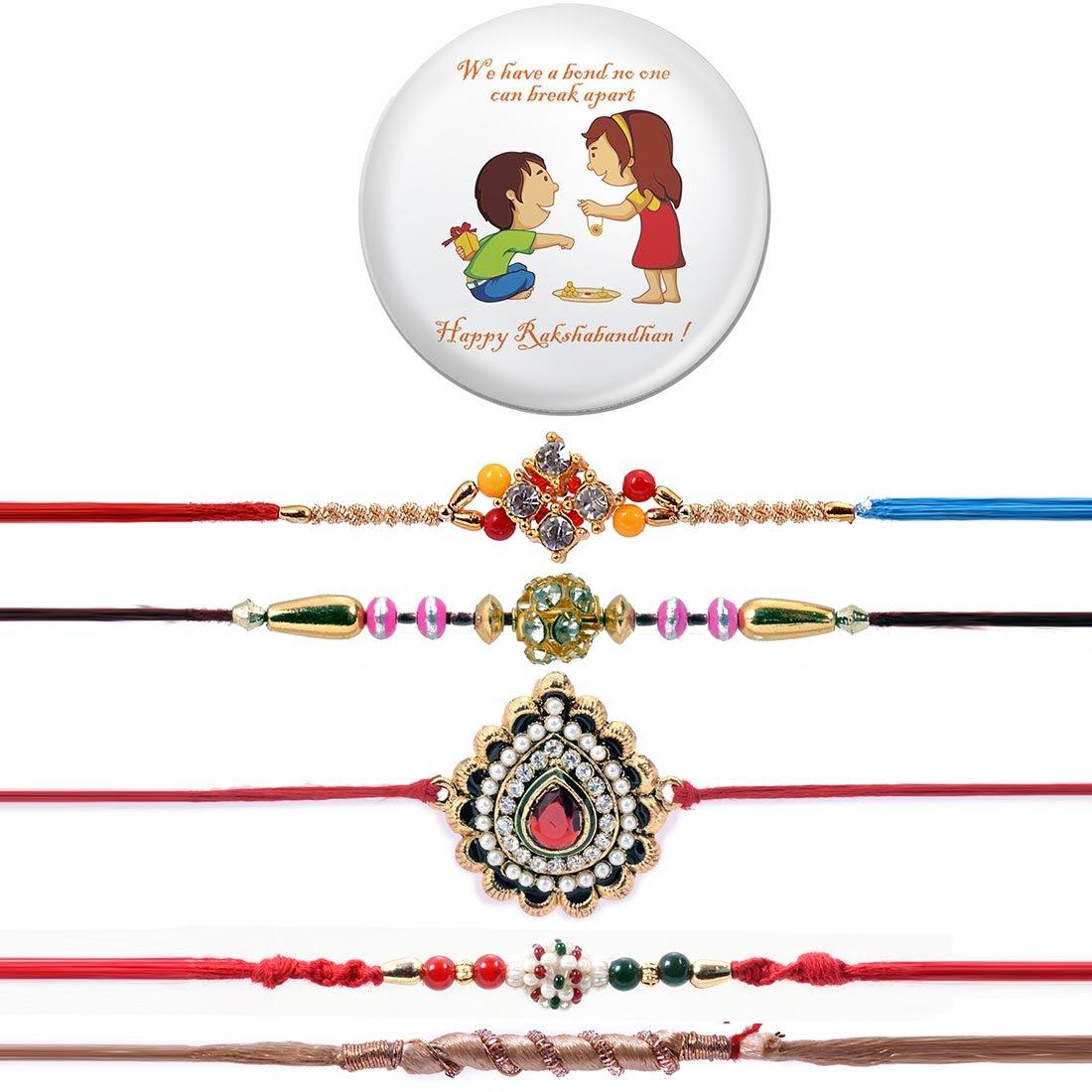 Ethnic Handcrafted 5 Rakhi Set With Magnetic Badge