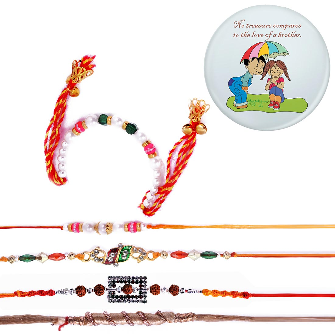 Ethnic Handcrafted 5 Rakhi Set With Magnetic Badge